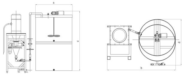 型自动加药装置主要结构及特点: PR系列全自动絮凝剂投配装置(见工艺流程图及结构简图),主要由溶解搅拌熟化罐、溶液储药罐、PLC控制系统、真空吸料机、粉剂料仓、水射器进料系统、搅拌机、滤网及进水管路配件等组成。该装置具有以下的优点: 1.上下式二槽一体(溶药箱、储药箱)连续式配制,此设备占用空间小、结构牢固、便于操作、保养、清理等。人力成本最低。 2.